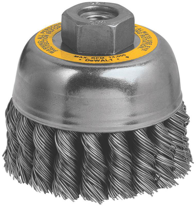 DEWALT DW4915 3-Inch by M10 by 1.25 Knotted Cup Brush//Carbon Steel .020-Inch