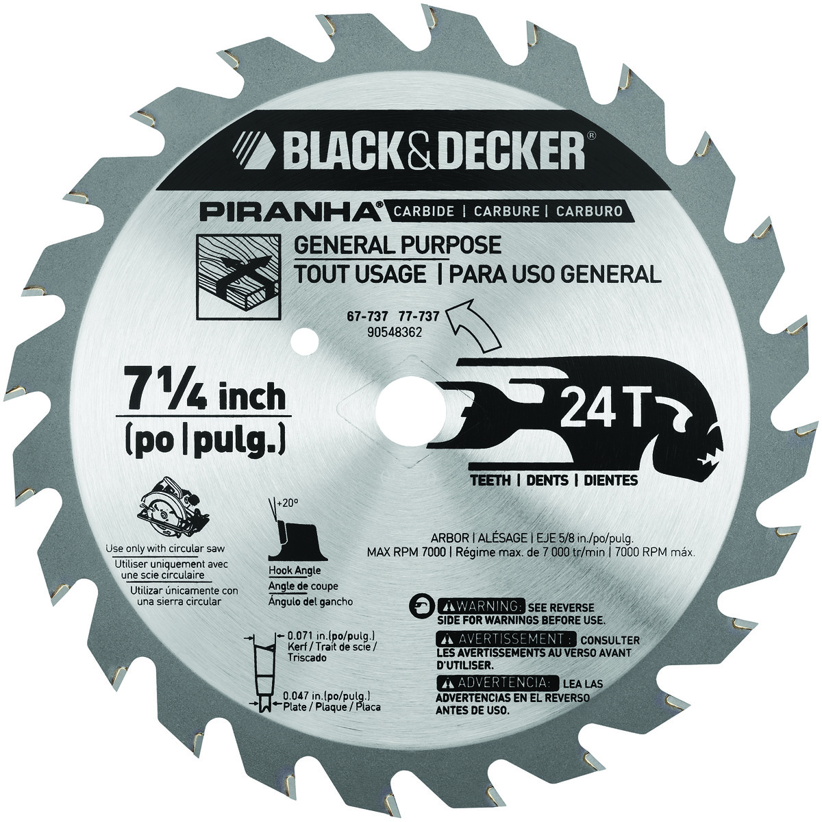 Black decker 67 737 7 14 inch 24 tooth rip and crosscut carbide hover to zoom keyboard keysfo Choice Image