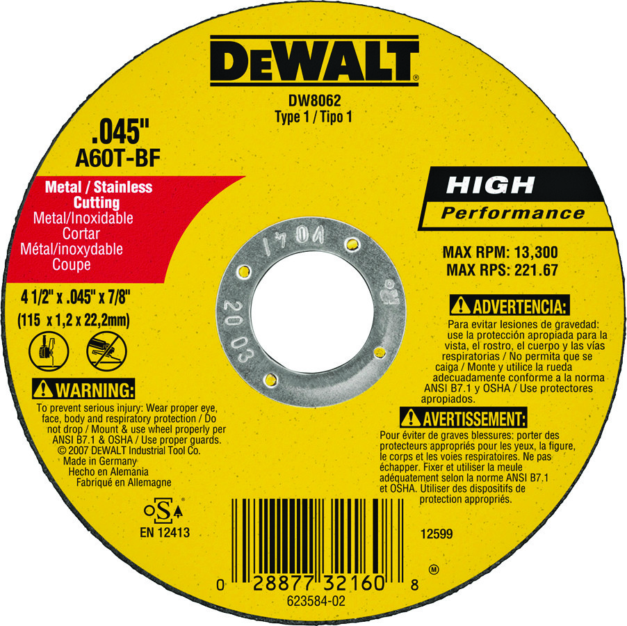 """4.5/"""" x 0.45 x 7//8/"""" Cut-Off Wheel with Depressed Center Cutting Disc"""