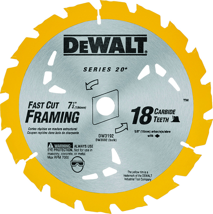 Dewalt dw3192 series 20 7 14 inch 18 tooth construction grade hover to zoom keyboard keysfo Choice Image