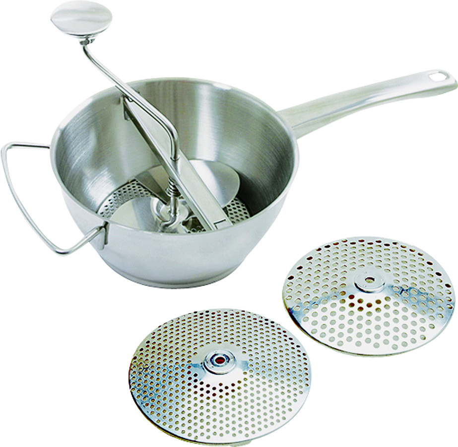 NEW COLUMBIAN HOME PRODUCTS F0722-4 DELUXE GRANITE WARE FOODMILL WITH 3 DISCS