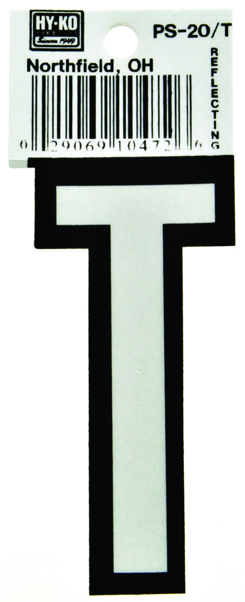 Hy Ko PS-20/T PS 20 Series 3-1/4 Inch Bend And Peel Reflective Vinyl House  Letter T