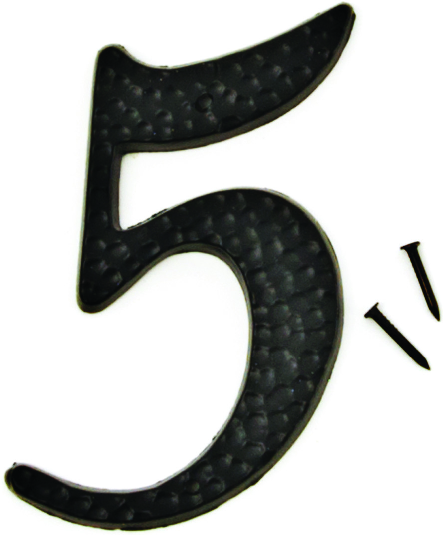 Hy Ko Dc 3 5 3 Inch Black Hammered Aluminum House Number 5