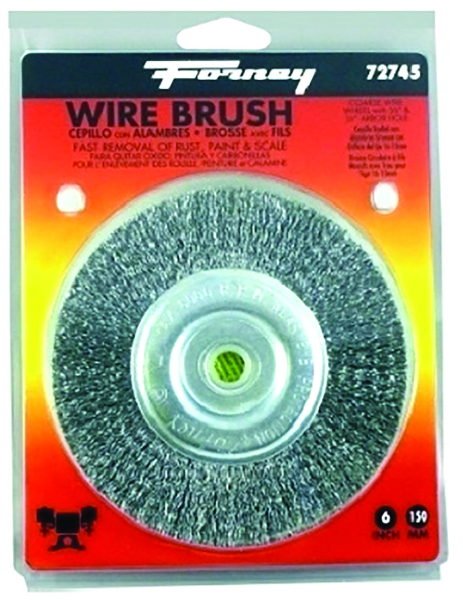 Wire Wheel Brush  6000 rpm Forney  6 in Fine Crimped  5//8 in Dia