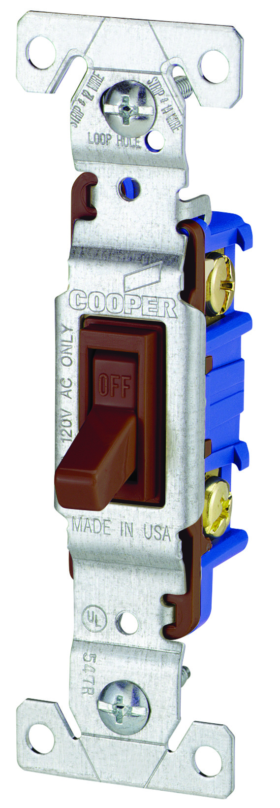 Eaton Cooper Wiring 1301b Toggle Switch Quiet 1 Pole Non Grounding Single Lighted 15 A 120 V Ivory Brown Tap To Expand