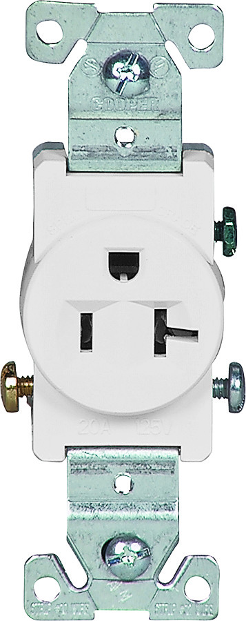 Cooper Wiring 1877W-BOX 20 Amp 3 Wire Grounded Commercial Receptacle ...