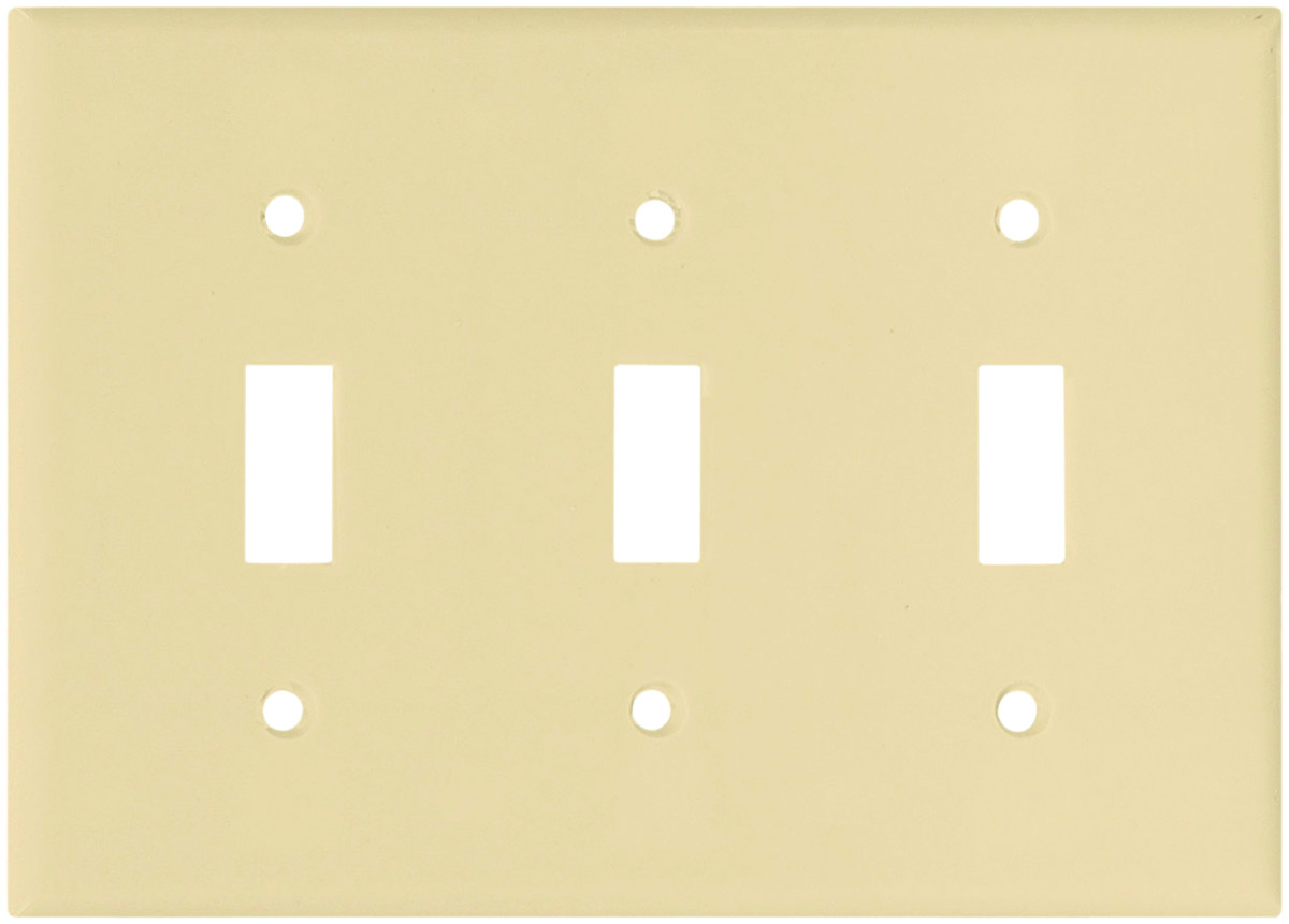 Cooper Wiring 2141v Box 3 Gang Switch Wall Plate Ivory 032664316302