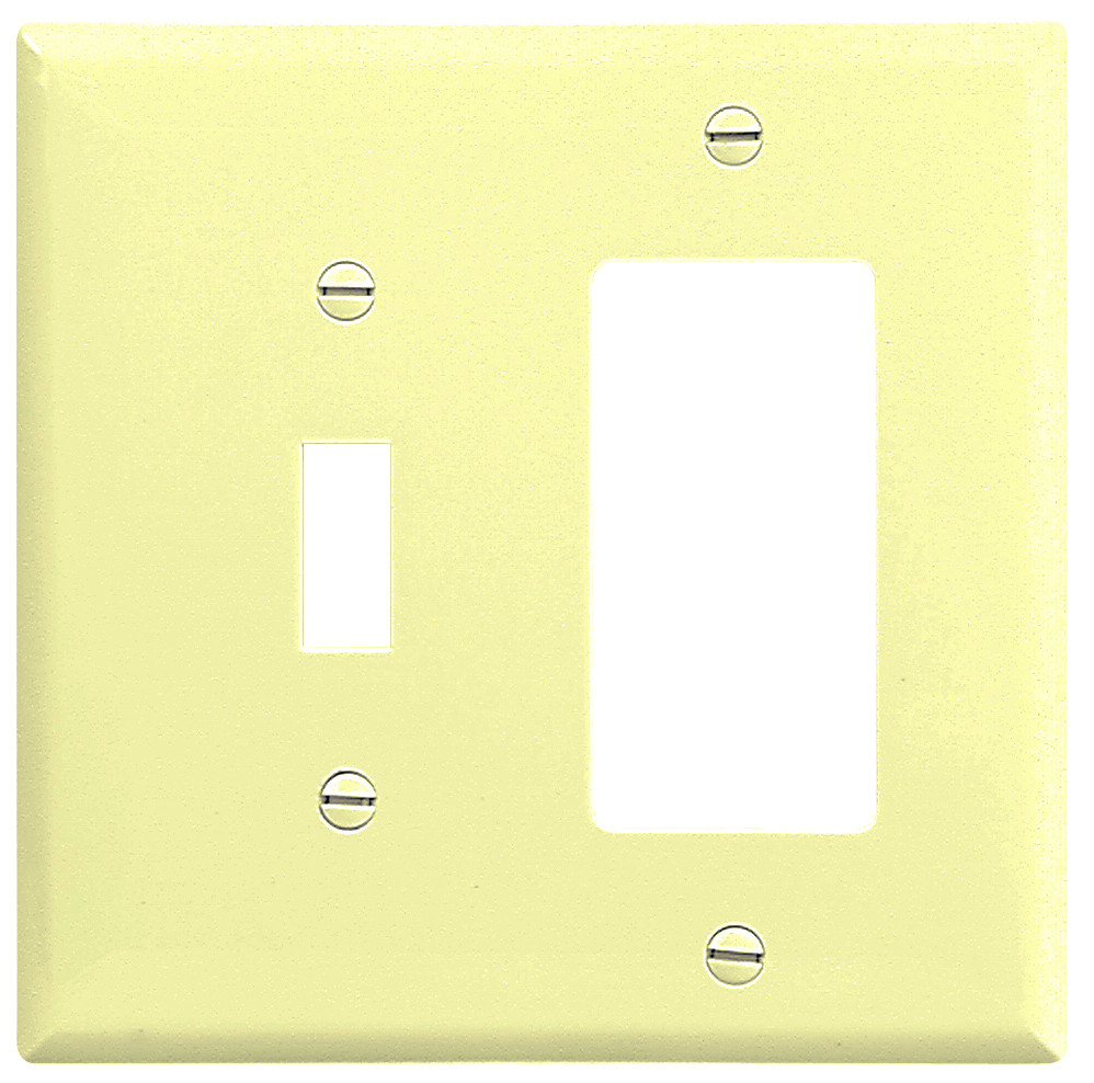 Cooper Wiring 2153V-BOX Combination Wall Plate 2 Gang Ivory ...