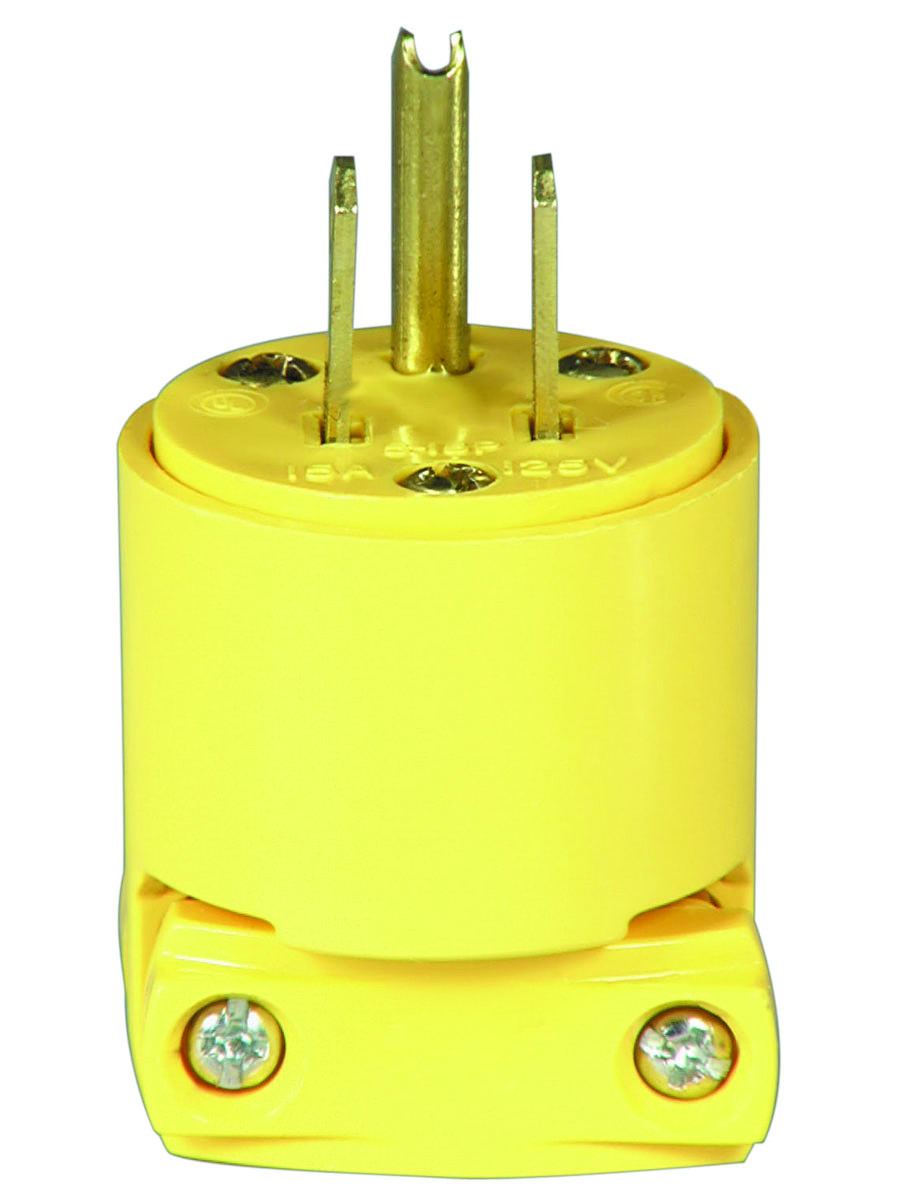 Cooper Wiring 4867 Box 3 Wire Grounded Vinyl Plug Yellow 032664340901 1