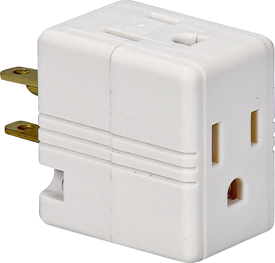 Cooper Wiring 1482W-BOX Outlet Cube Tap/Adapter 125 Volt 15 Amp 3 ...