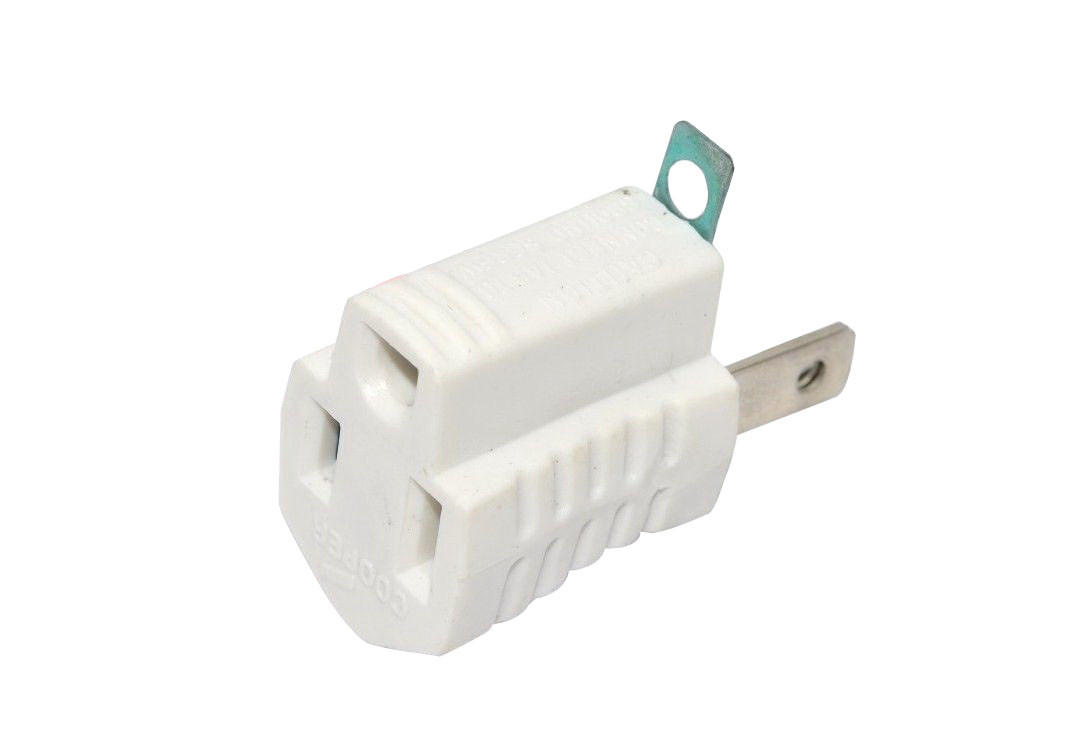 Cooper Wiring Devices 419W 419W Grndng Adptr 2Pto3wire Wh ...