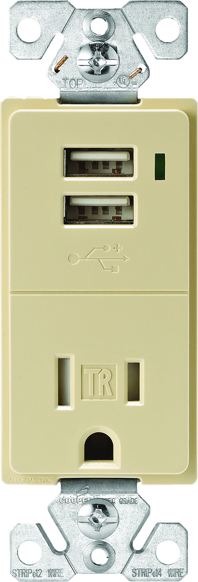 Remarkable Cooper Wiring Tr7740V K Combination Usb Charger With Tamper Resistant Receptacle Ivory Wiring 101 Tzicihahutechinfo