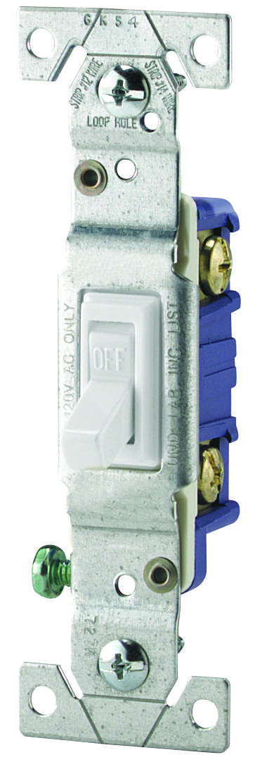 Eaton-Cooper Wiring 1301-7W Toggle Switch Quiet 1 Pole Framed ...