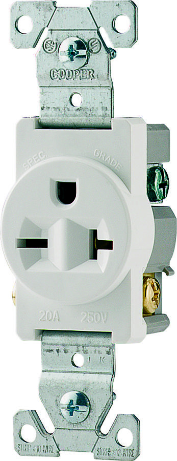 Cooper Wiring 1876W-BOX 20 Amp 3 Wire Grounded Receptacle White ...