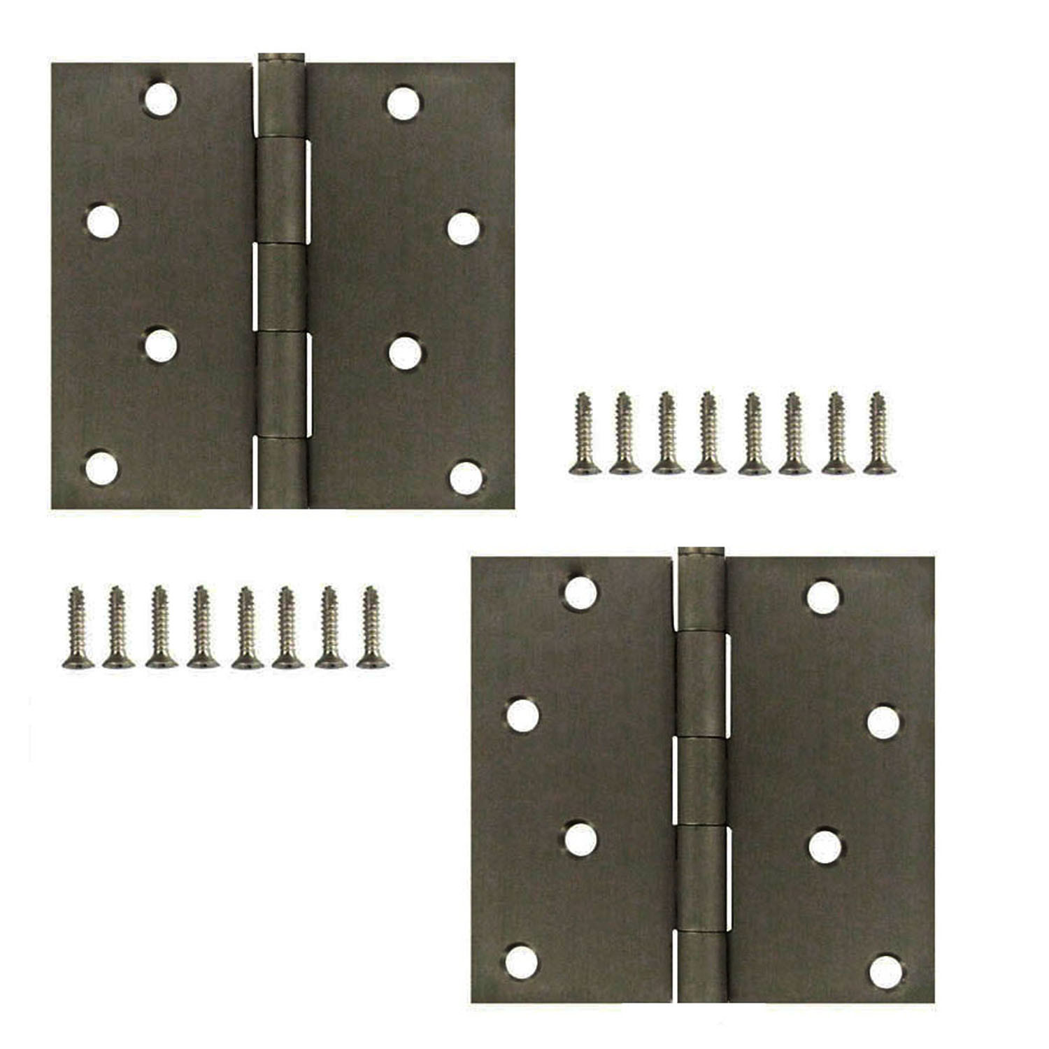 National Hardware S821-231 S808-477 Stanley 4 Inch Square Corner Door  Hinges Antique Pewter 2 Pack