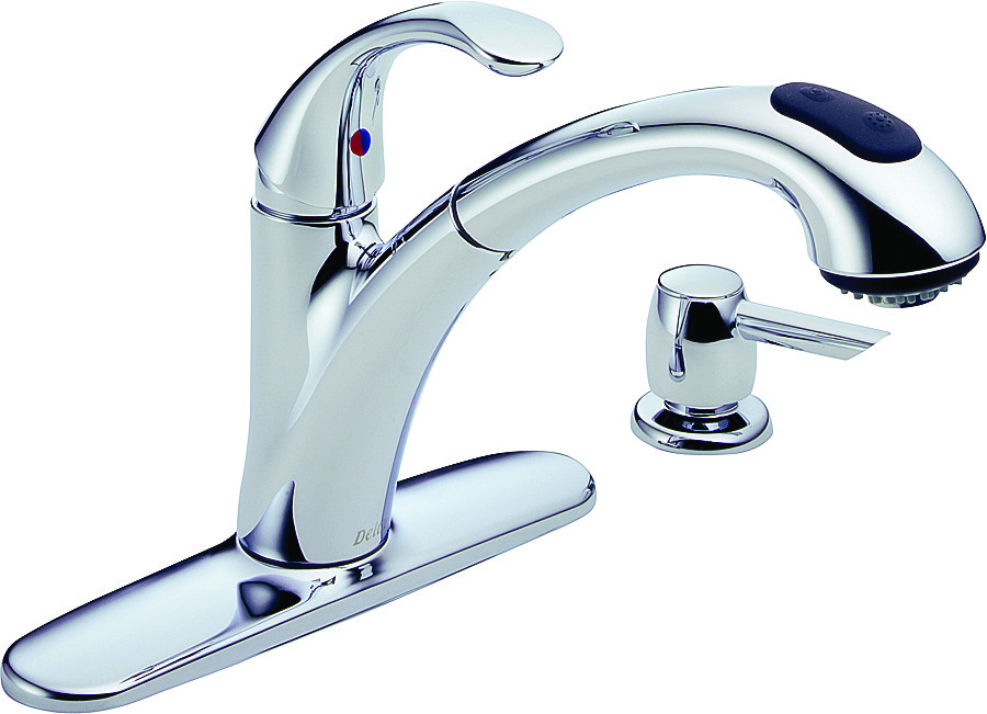Delta Faucet 16929-SD-DST Single Handle Kitchen Faucet With Soap Dispenser  Chrome