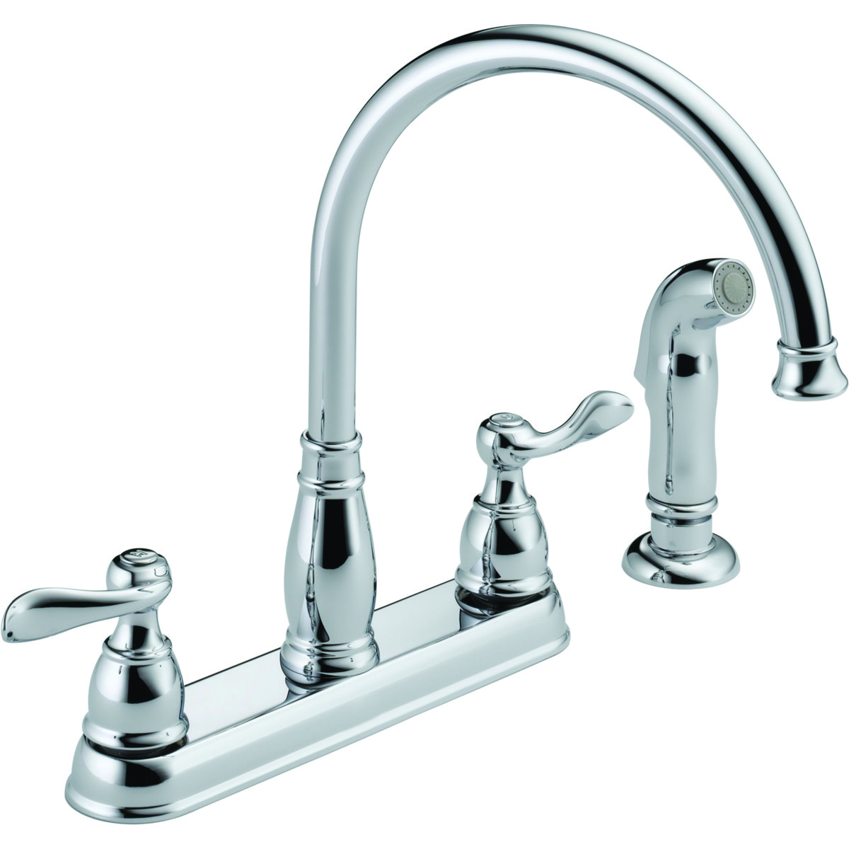Delta Faucet 21996LF-SS Kitchen Faucet 2 Handle Spray Stainless ...