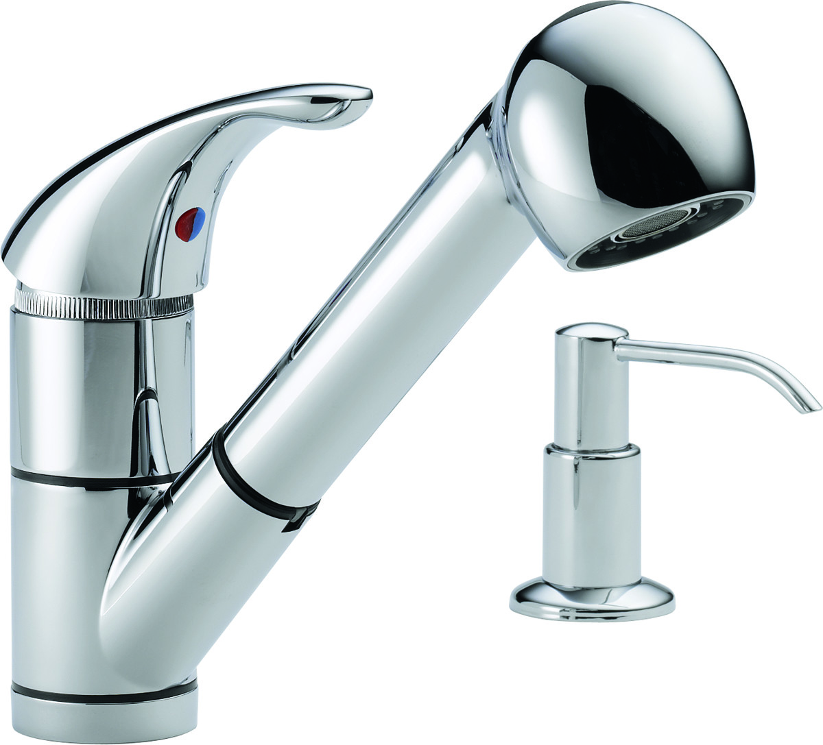Delta Faucet P18550LF-SD Kitchen Faucet Single Handle Pull Out Spout With  Soap Dispenser Chrome