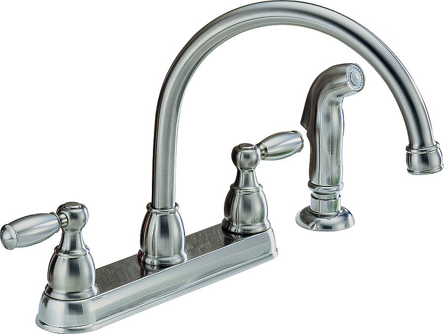 Delta Faucet P299575lf Ss Peerless Kitchen Faucet 2 Lever Handle Hi Arc Swivel Spout With Side Spray Stainless Steel
