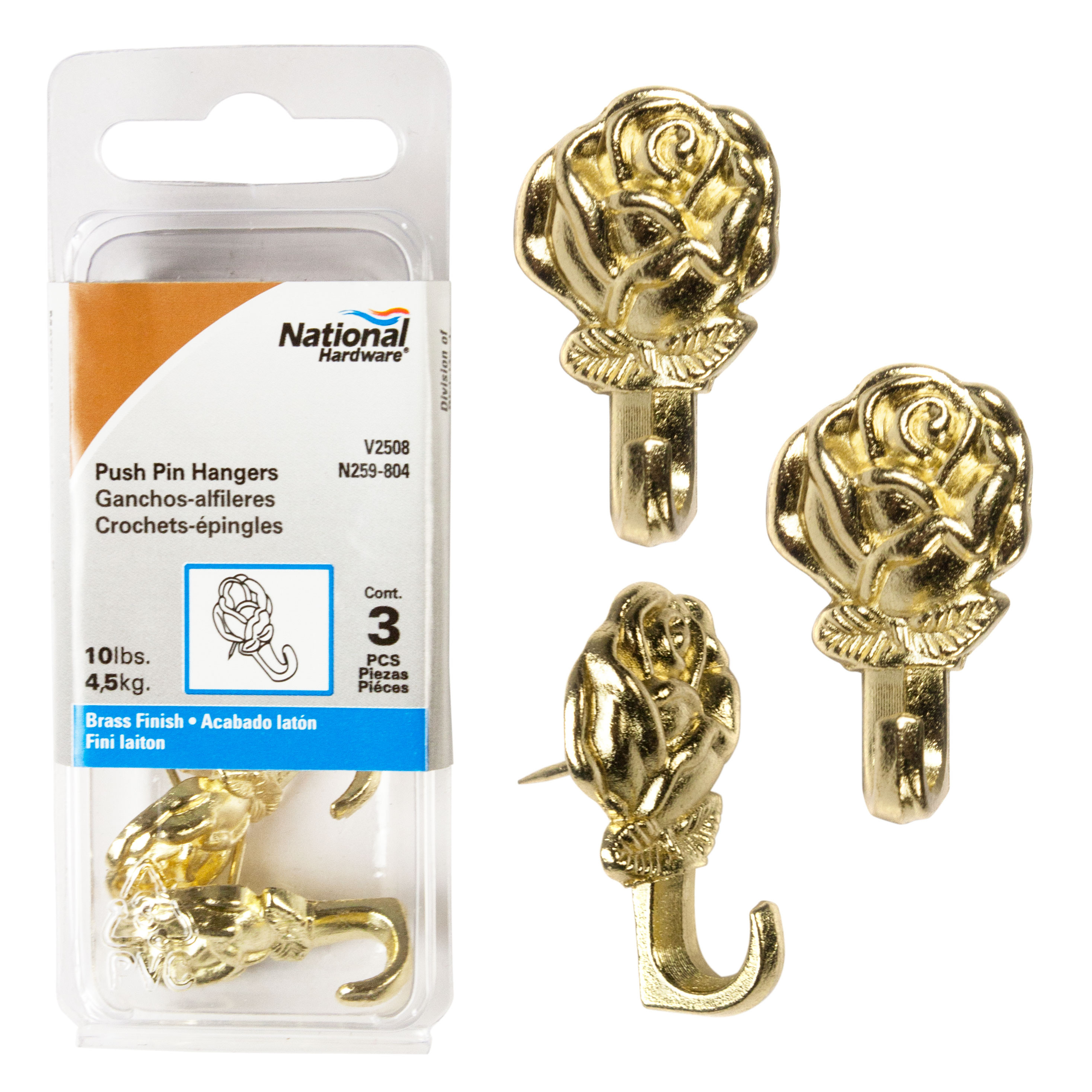 National Hardware N259 804 Decorative Rose Push Pin Picture Hangers Polished Brass 3 Pack