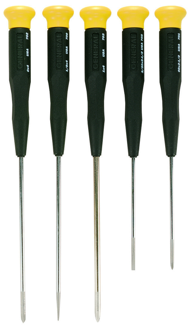 S605 No GENERAL TOOLS 5-pc NEW JEWELERS/' SCREWDRIVER SET