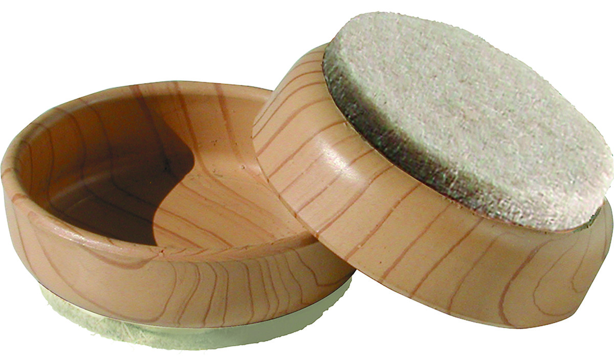 1-3//4 Inch Round Woodgrain Natural Felt Bottom Caster Cups Pack Of 4
