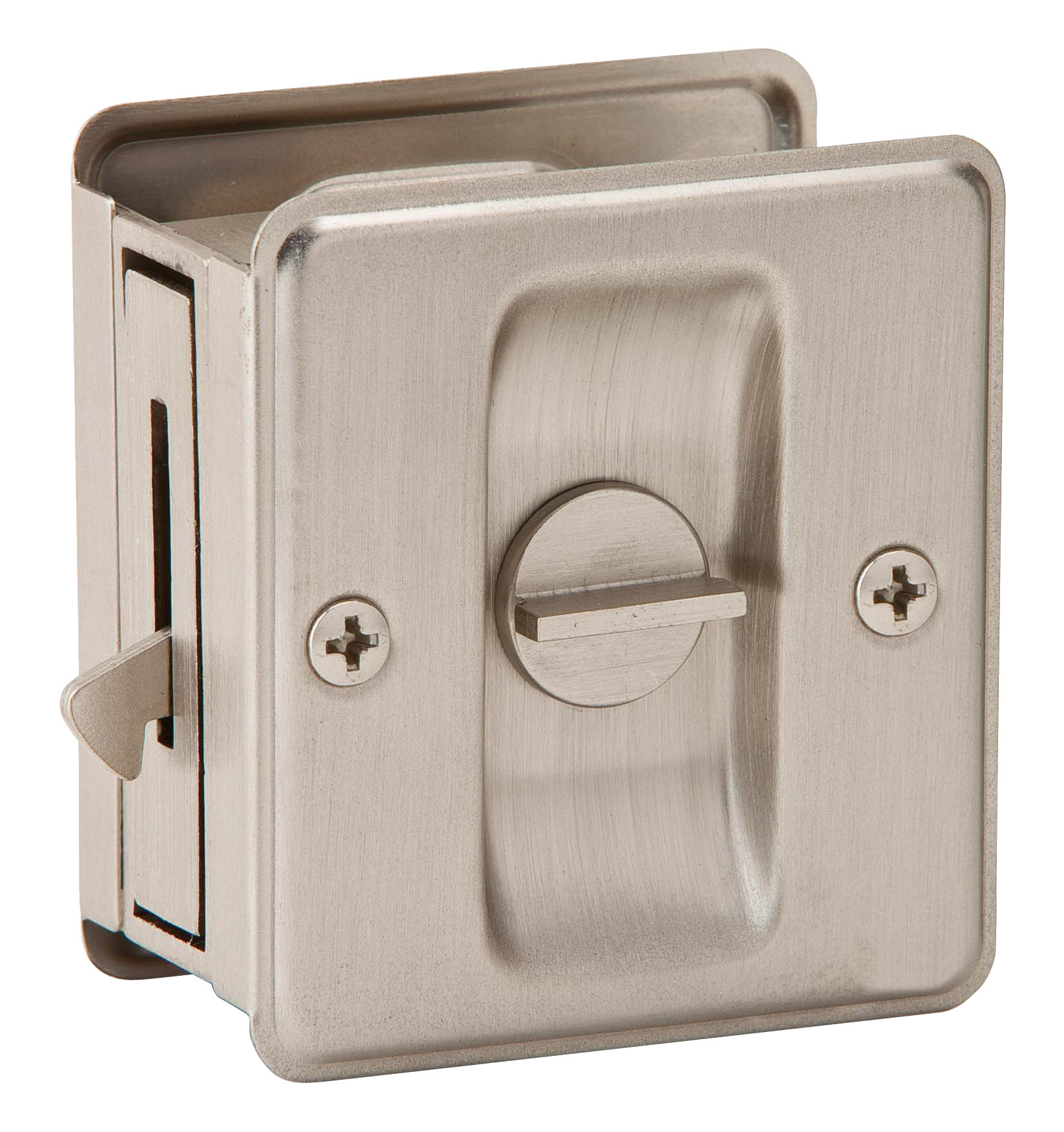 ... Hardware Privacy Notched Pocket Door Latch Satin Nickel. Hover To Zoom