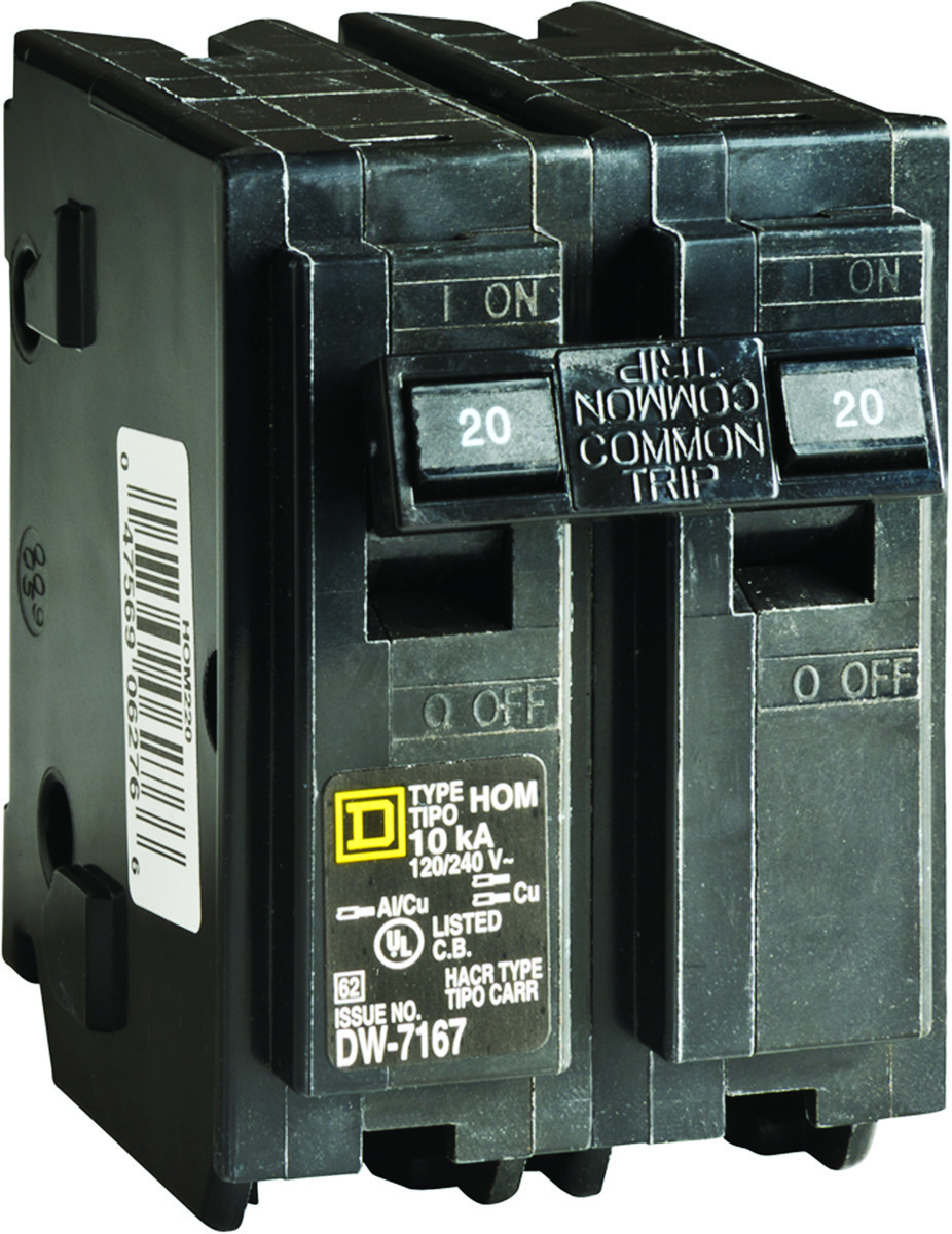 Square D Hom220cp Homeline 20 Amp Dp Circuit Breaker 047569062766 2 Breakers Wiring And Diagram Hub Electrical Lighting Panel Boxes Hom Type For