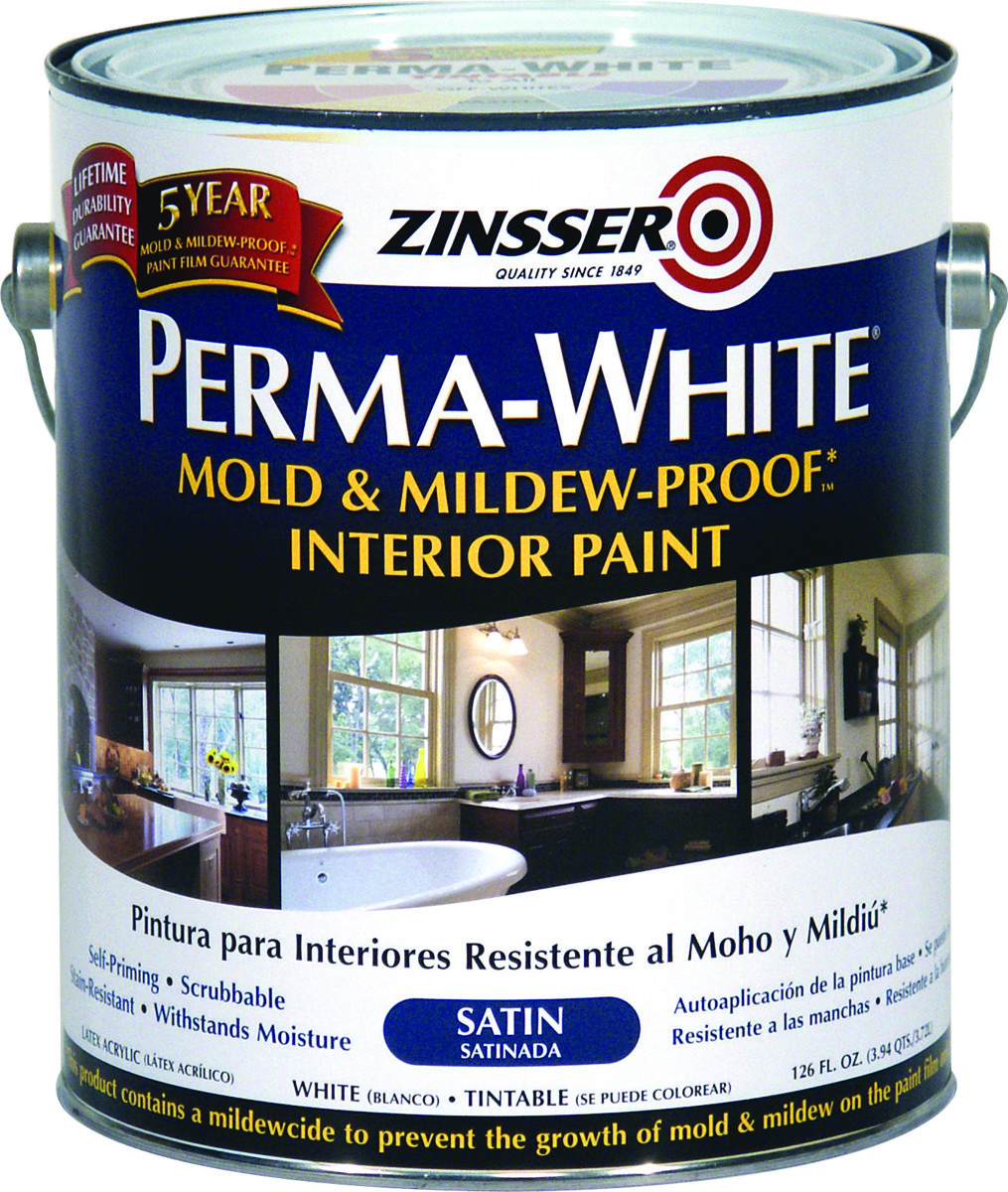 Zinsser 03101 Perma-White Satin Mold & Mildew-Proof
