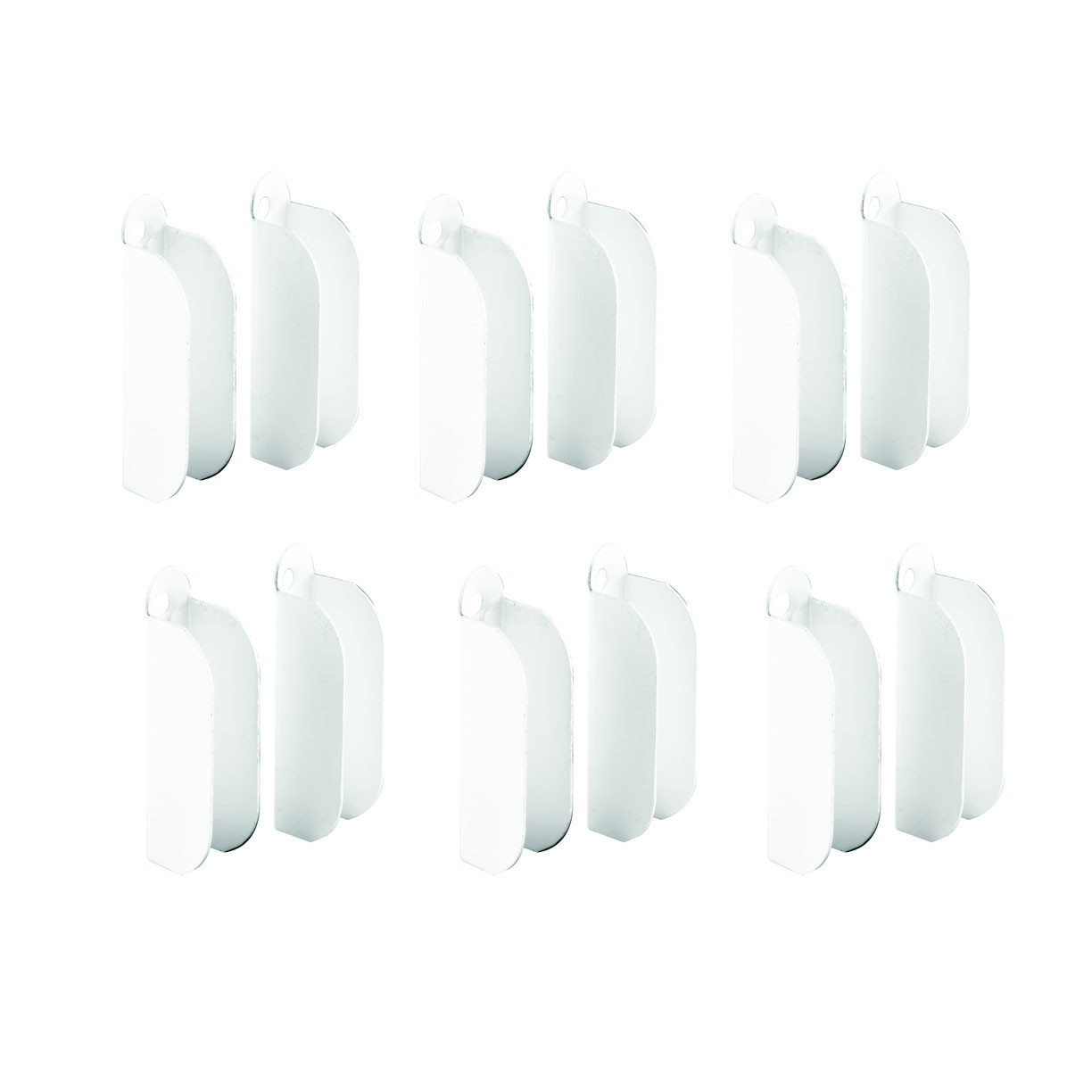 Prime-Line Spline Channel Pull Tabs Plastic White Carded Pack 6