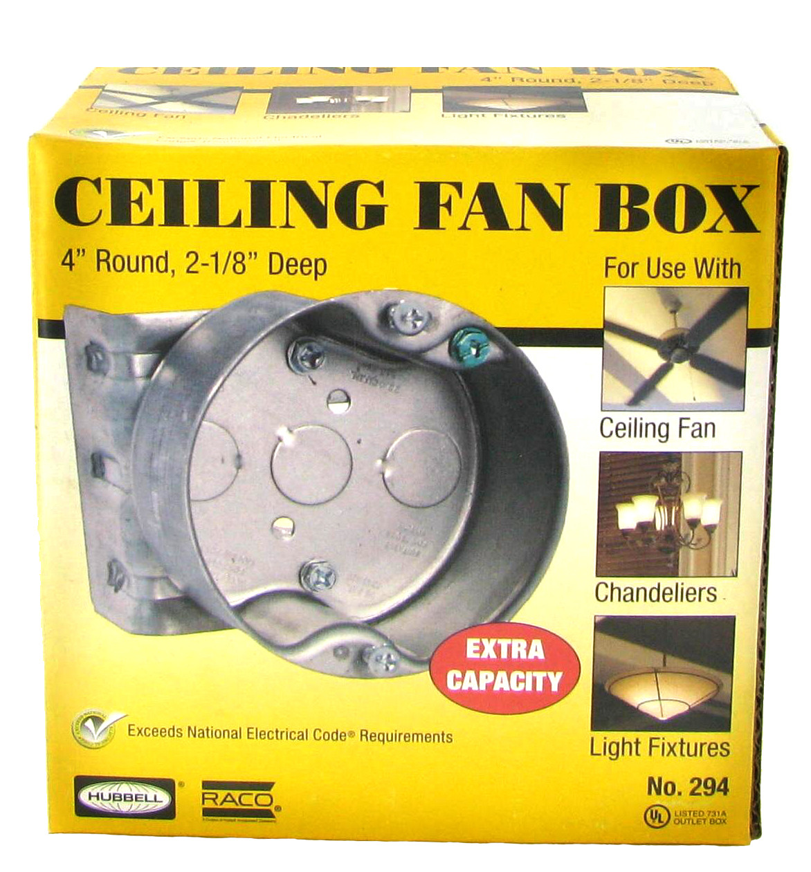 Hubbell-Raco 296 1-1//2-Inch Deep 1//2-Inch Knockouts 4-Inch Octagon Ceiling Box