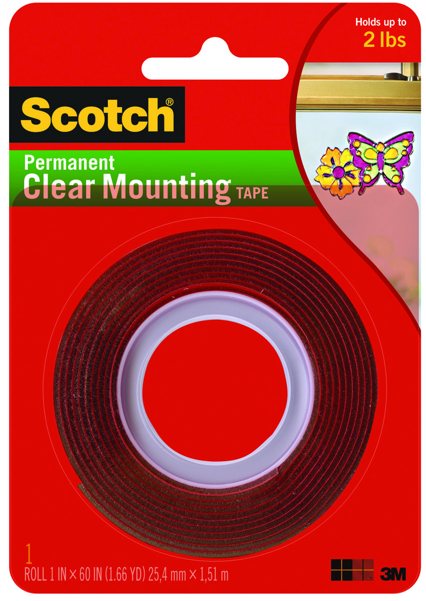 3M Scotch Permanent Foam Mounting Tape Double Sided 1x125 inches Free Shipping
