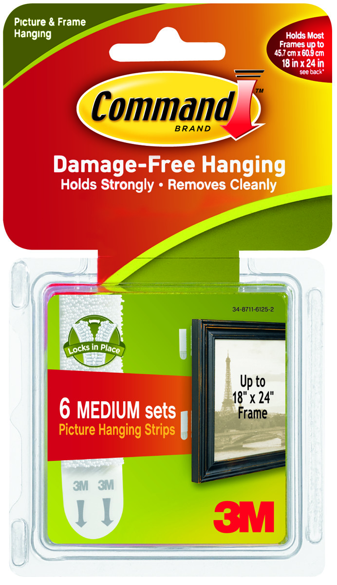 3m 17204es Command Picture Hanging Strips Medium Pack Of 12 6 Sets