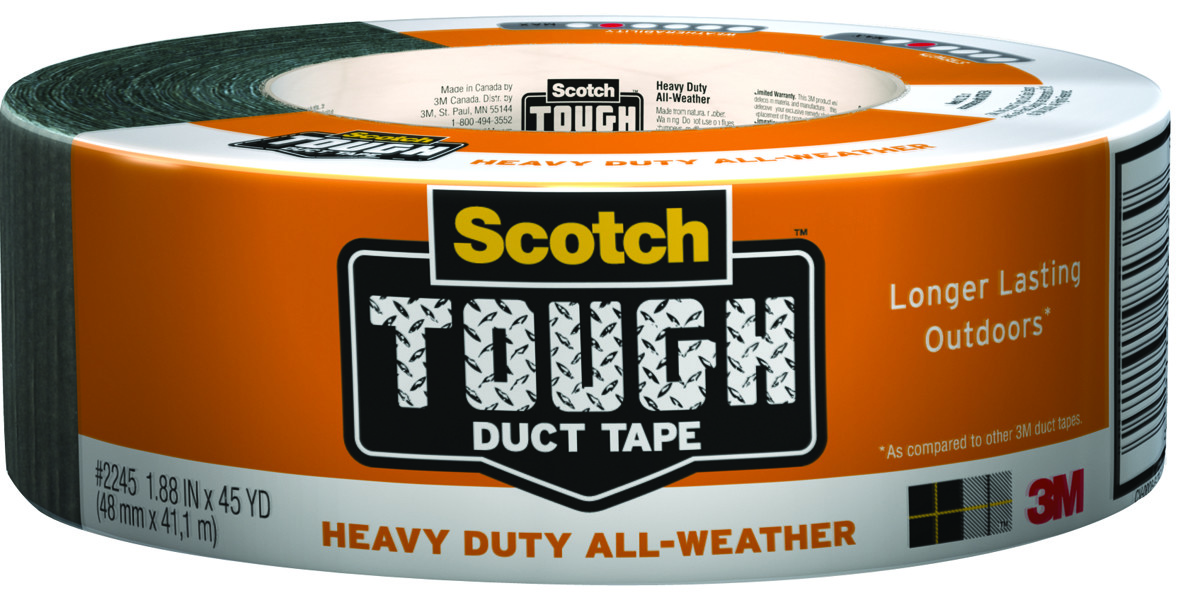 1.88 in 2 Pack 3M Scotch Tough Heavy Duty All-Weather Duct Tape x 45 yd. Gray