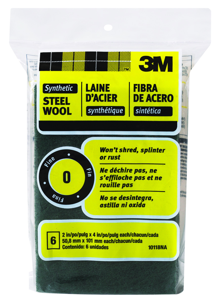 3M 10118N Scotch Brite Synthetic Steel Wool Pad Fine 2 Inch By 4 Inch 0  Grit, 6 Pack