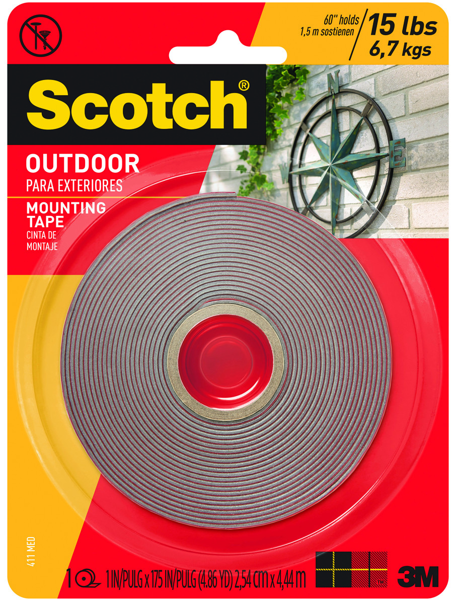 3m 411 meduim scotch outdoor mounting tape double sided 1 inch by