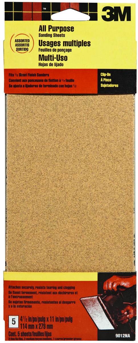 Pack of 2 Assorted Grit 3-2//3-Inch by 9-Inch 3M 9019 General Purpose Sandpaper Sheets