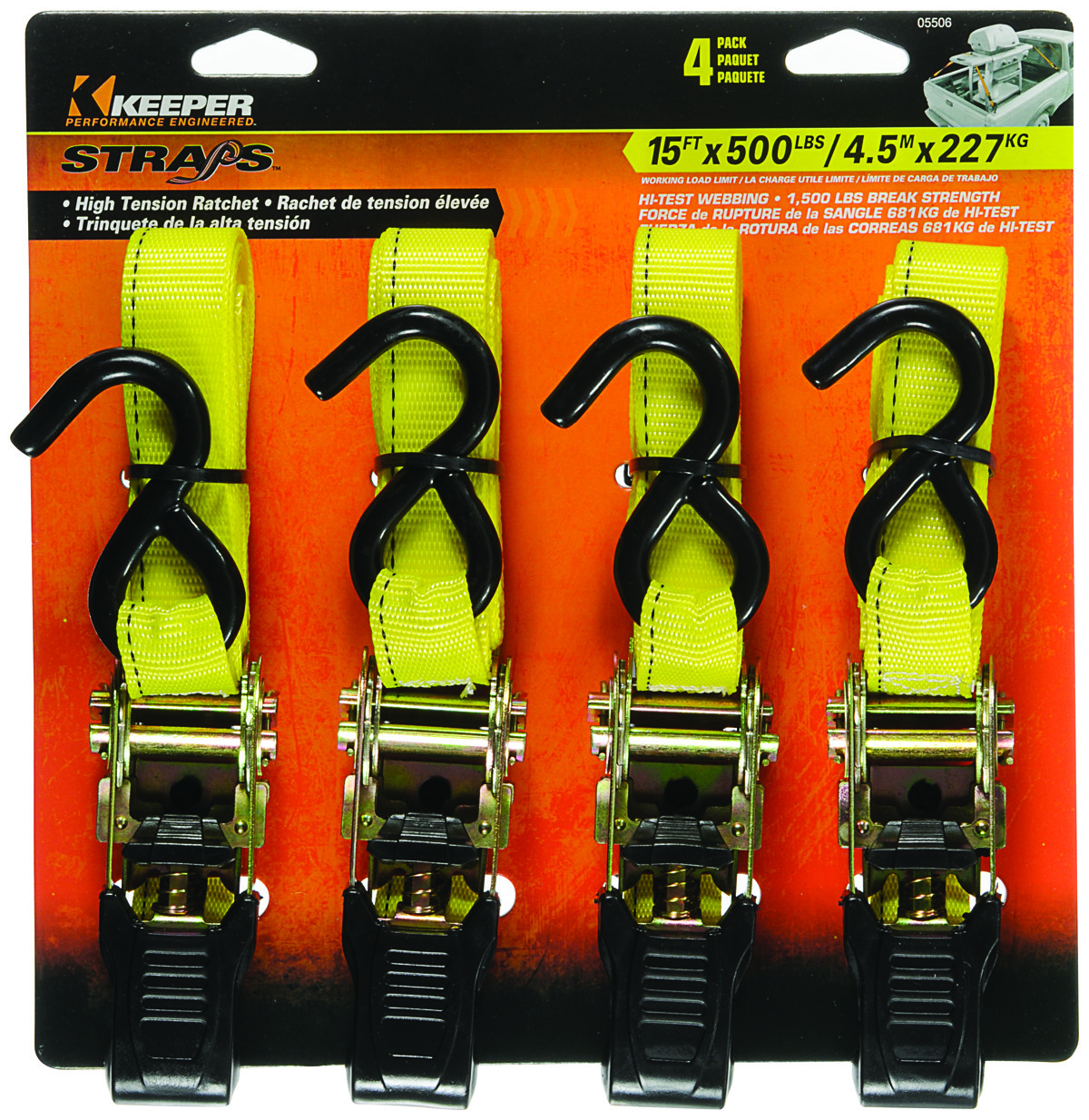 Keeper 04623 27 x 2 Ratchet Tie-Down with Flat Hooks
