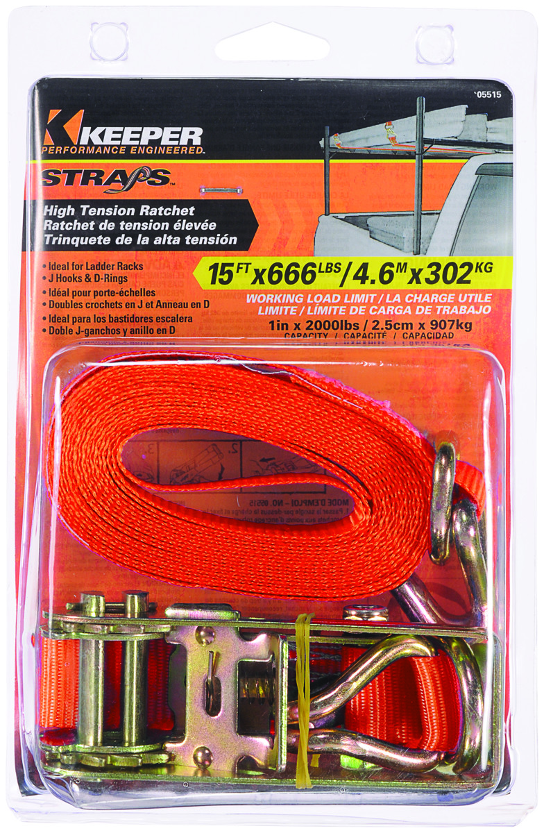 Keeper 05515 15 x 1 Ratchet Tie-Down with Double J-Hooks