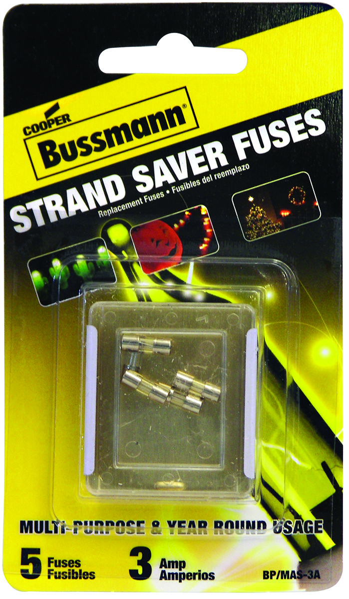 cooper bussmann bpmas 3a christmas lights 3 amp glass fuses 5 pack