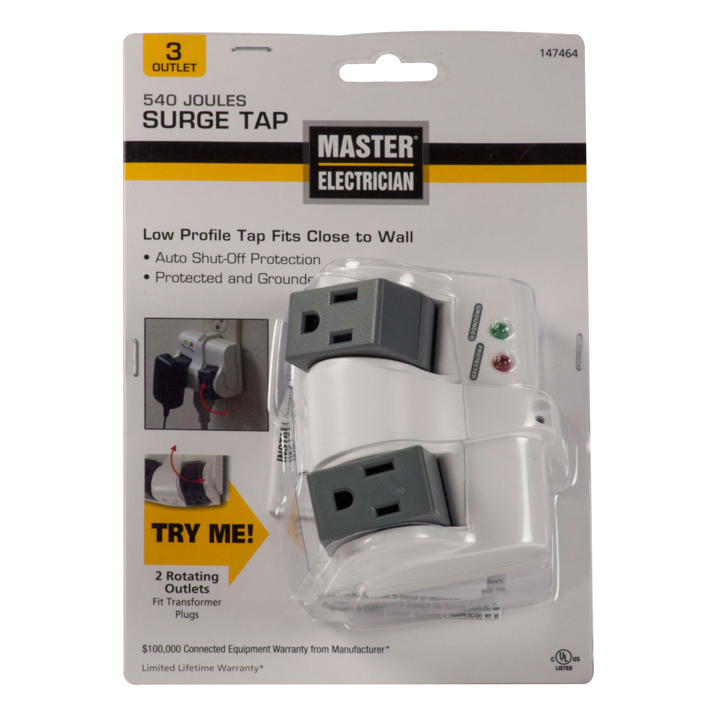 Prime Wire ME905103 Master Electrician 3 Outlet Rotating Surge Tap ...