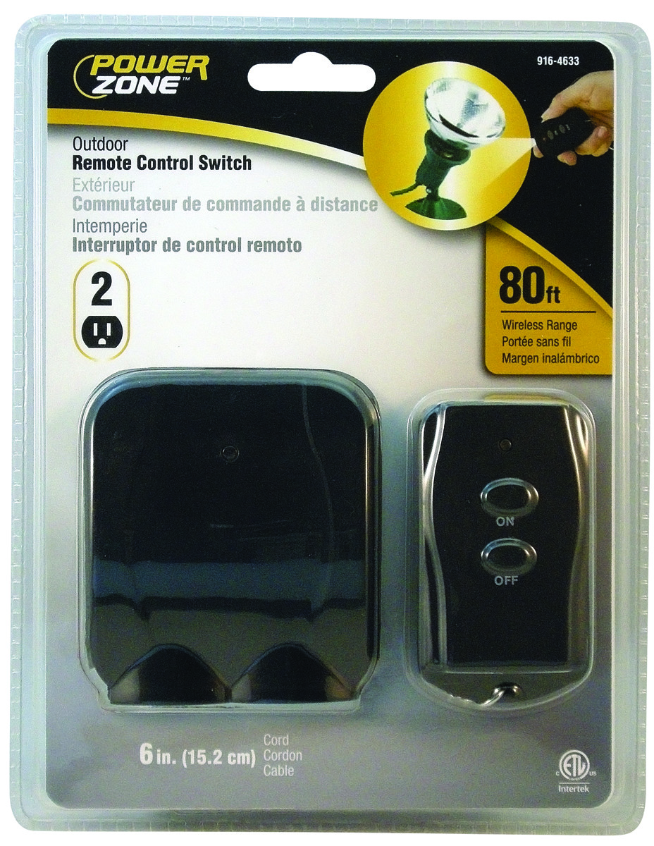 Power Zone TNOREM02 2 Outlet Outdoor Remote Control Switch ...