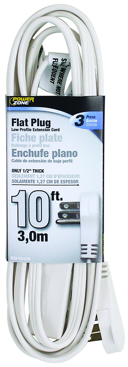 power zone or930610 extension cord flat plug white 10 foot