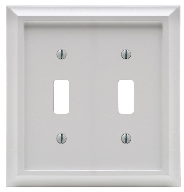 Amertac 2040ttw Deerfield Toggle Switch Wall Plate 2 Gang White Wood 070686586204 1
