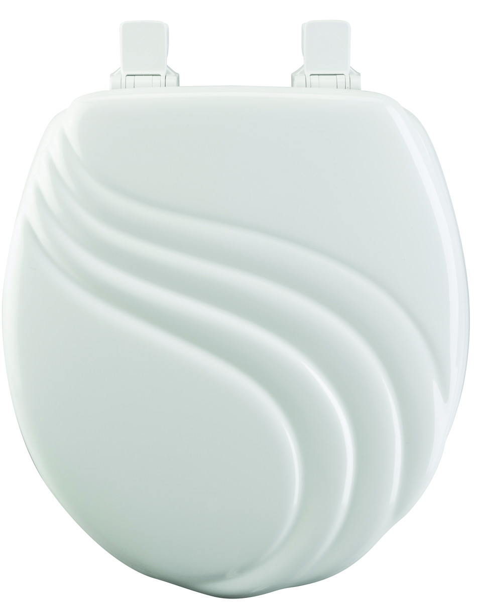Sensational Bemis 27Ec 000 White Round Wood Core Toilet Seat With Decorative Lid Design Ncnpc Chair Design For Home Ncnpcorg