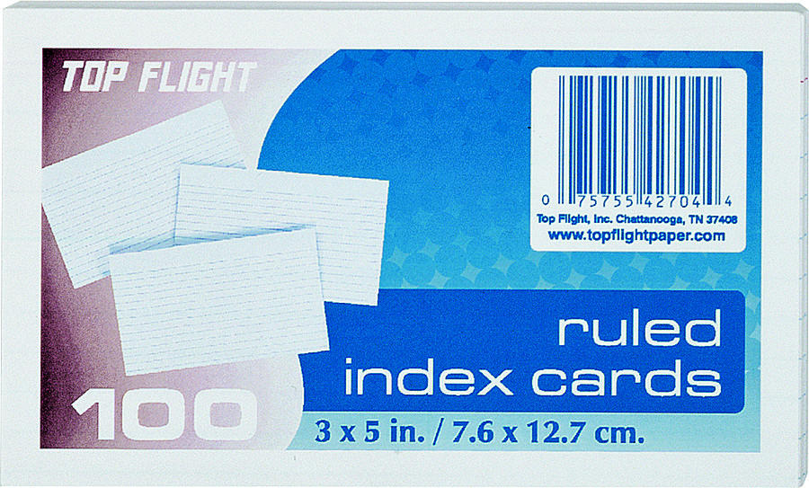 Top Flight 4630712 3 Inch By 5 Inch Ruled Index Cards 100 Ct