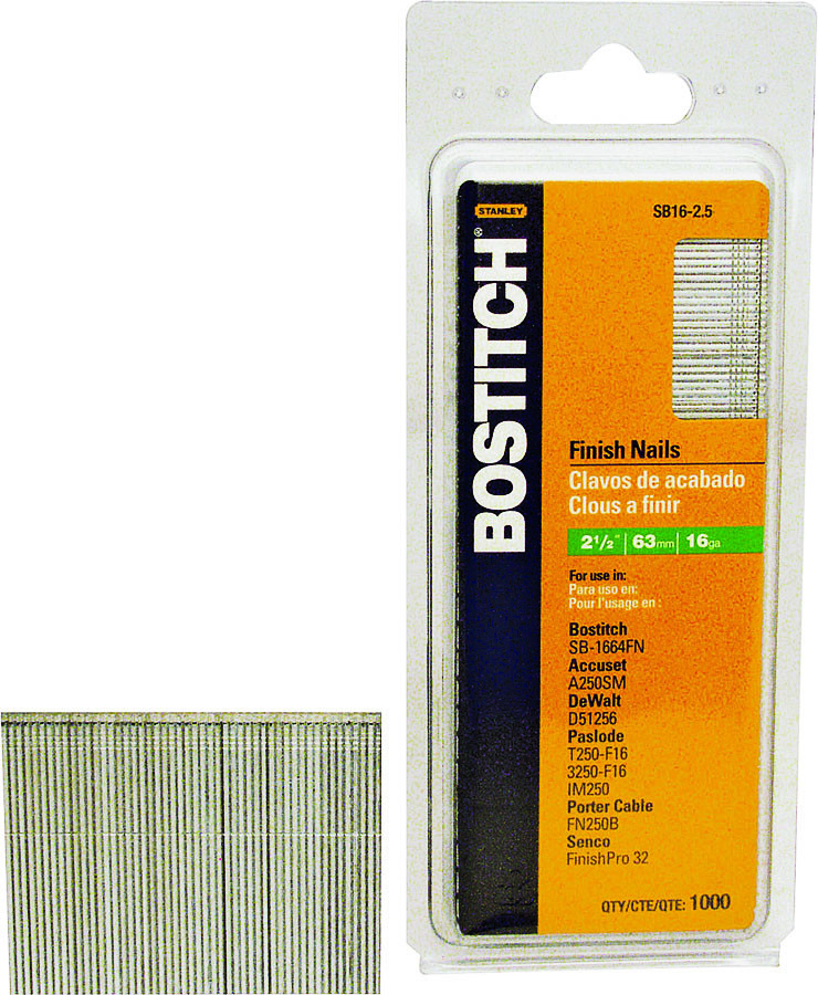 , BOSTITCH FN1520-1M 1-1//4-Inch 15-Gauge FN Style Angled Finish Nails 1000-Qty
