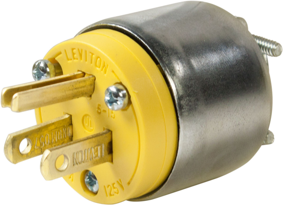 Leviton R00-515PA-000 15 Amp 125 Volt 3 Wire Grounding Plug Yellow Armored