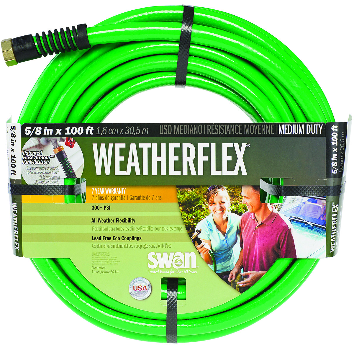 Colorite Swan Snwf58100 Weather Flex Garden Hose Green 5 8 Inch By