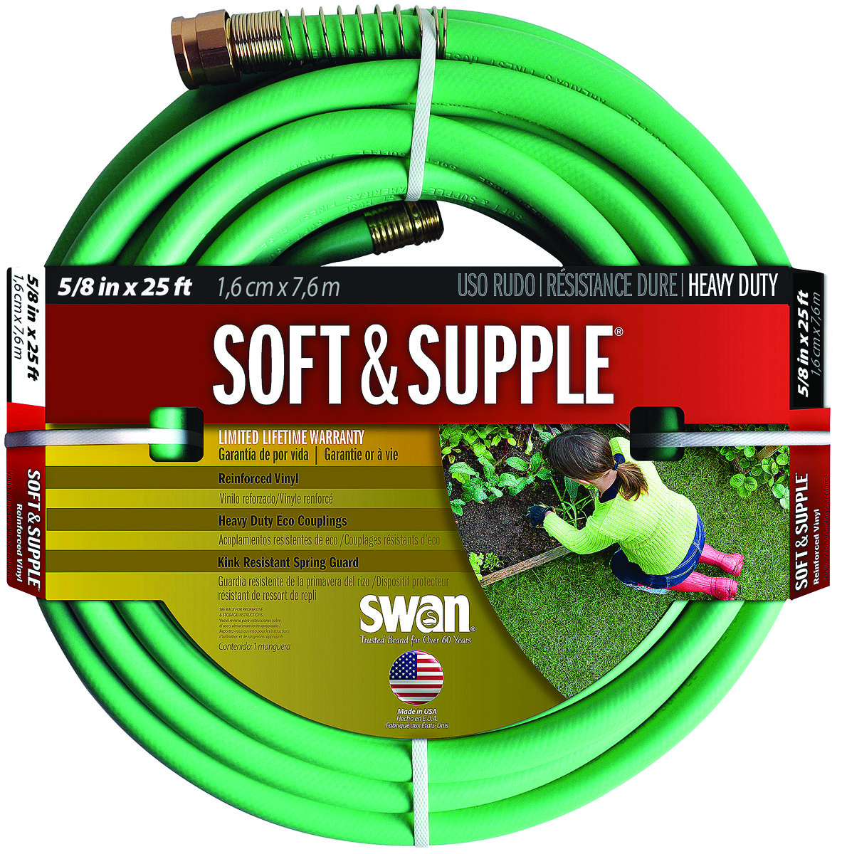 e343ccef11f7 Colorite Swan SNSS58025 Soft   Supple Garden Hose Premium 5 8 Inch By 25  Foot Soft And Supple